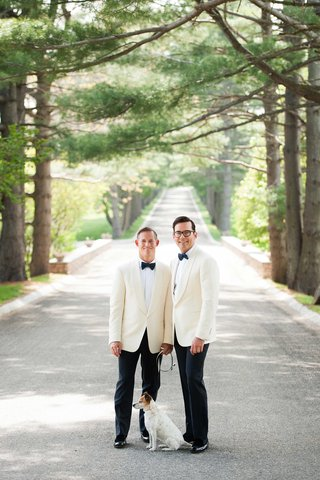 jack-russell-terrier-dog-and-couple-white-tuxedo-suit-and-bow-tie