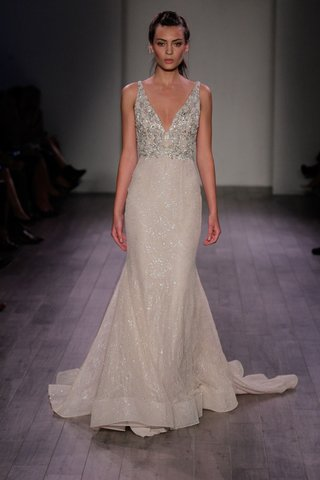 lazaro-spring-2016-fit-and-flare-wedding-dress-with-silver-beaded-v-neck-bodice-and-sparkling-skirt
