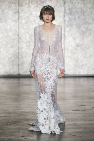 inbal-dror-fall-2018-3d-lace-deep-v-gown-appliqued-skirt-beaded-necklace-long-crochet-lace-sleeves