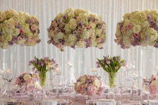 wedding-reception-inspiration-shoot-purple-tulips-tall-white-hydrangea-rose-centerpiece-white-drapes