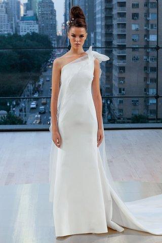 mercer-ines-di-santo-fall-2018-one-shoulder-wedding-dress-sheath-bow-detail-at-shoulder-cape