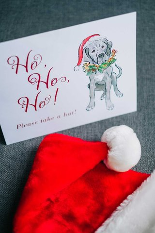 wedding-favors-ho-ho-ho-please-take-a-hat-sign-with-dog-illustration-drawing-santa-hats