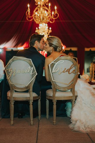 bride-and-groom-chair-signs-in-geometric-shapes-couple-kiss-in-bride-and-groom-chairs