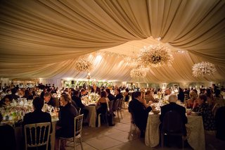 guests-enjoying-dinner-at-wedding-reception-in-heavily-draped-ballroom-with-flower-chandeliers