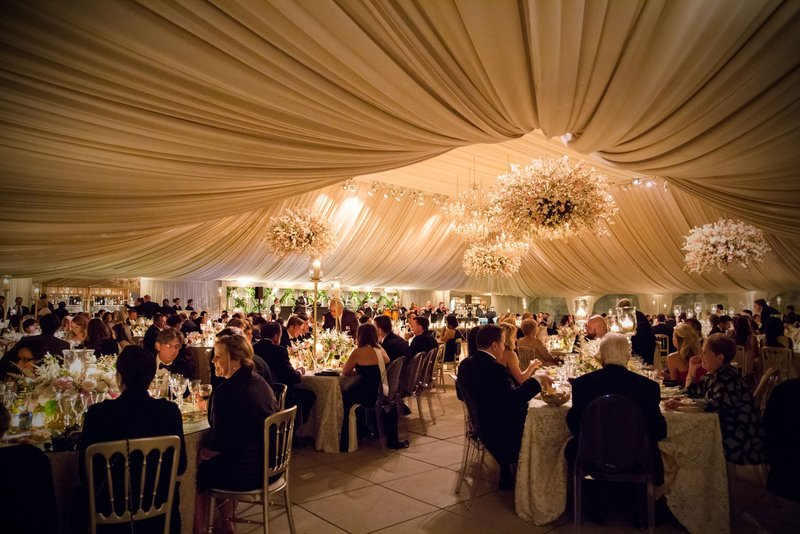 Guests Seated in Dramatic Reception Space