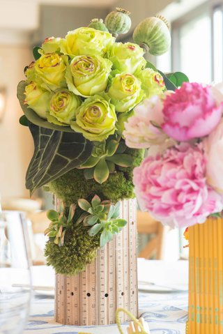 lime-green-roses-and-succulents-in-ruler-vase-pink-peonies-in-pencil-vase-bridal-shower