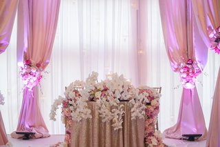 gold-sequin-tablecloth-topped-with-fresh-flowers