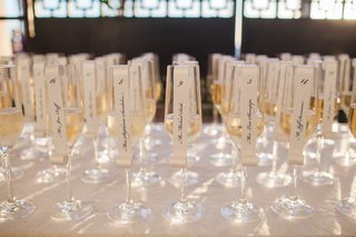 wedding-escort-cards-in-champagne-flutes