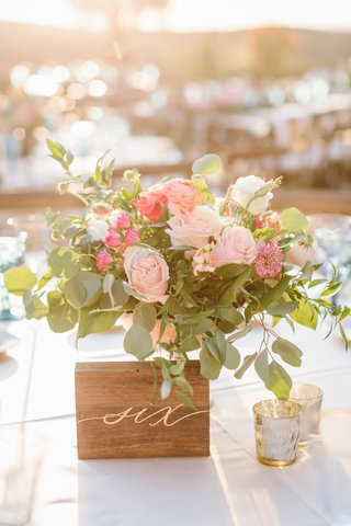 outdoor-wedding-reception-table-number-wood-block-with-gold-calligraphy-number-next-to-pink-flowers