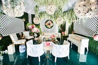 Reception Decor with Outdoor Feel styled trellis and gold furniture
