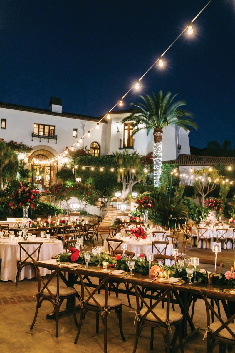 Outdoor Ranch Reception with Bistro Lights