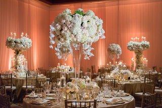 wedding-ballroom-reception-tall-centerpieces-flower-sculpture-white-hydrangea-blush-rose-orchids