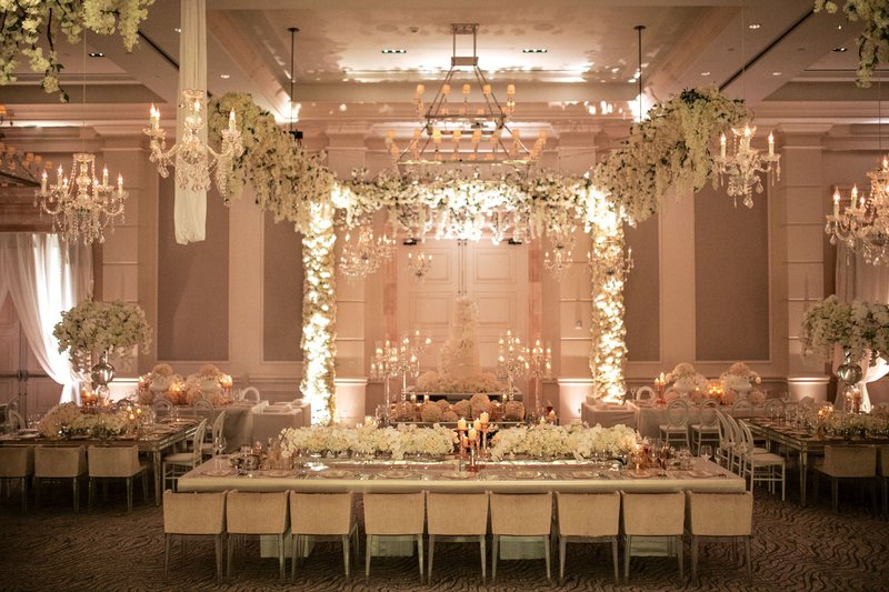 Ballroom Wedding with Hanging Flower Arrangements