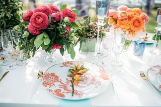 ranunculus wedding reception centerpieces low flower print china in orange kumquat fruit sprig