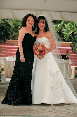 bride-with-mother-of-bride-in-strapless-black-gown