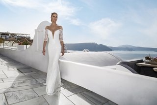 julie-vino-fall-2016-plunging-v-neck-sparkle-wedding-dress-with-lace-three-quarter-sleeves