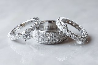 wedding-rings-diamond-engagement-ring-and-eternity-band-with-mens-band-three-rows-of-diamonds