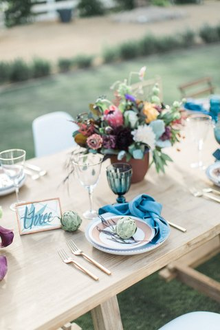 rustic-blue-tan-place-setting-tablescape-california-winter-wedding-styled-shoot-ranch-naked-table
