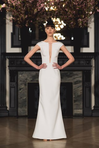 ines-di-santo-spring-2019-bridal-collection-wedding-dress-emma-cap-sleeve-plunging-neckline-gown
