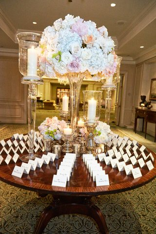 large-pastel-floral-centerpiece-with-candles-at-escort-card-table