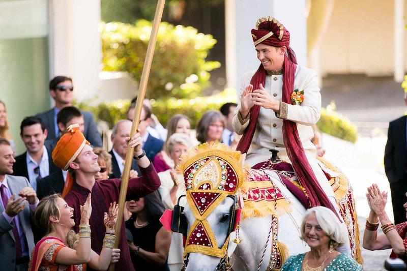 Groom on White Horse for Baraat