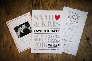 welcome-card-with-engagement-photo-save-the-date-with-type-and-heart-and-similar-menu