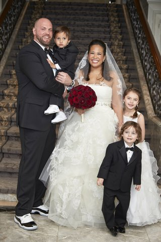 bride-in-vera-wang-lace-ball-gown-wedding-dress-and-veil-groom-in-sneakers-ring-bearer-flower-girl
