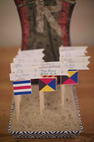 seating-cards-in-sand-box-on-top-of-nautical-boat-flags