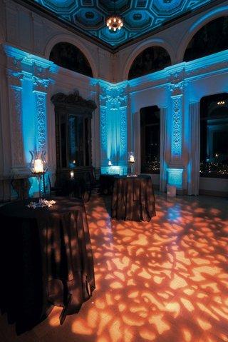 blue-uplighting-and-orange-pattern-gobo-lighting