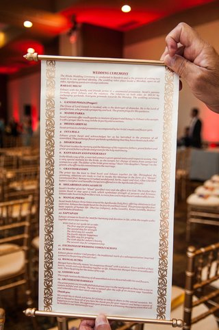 hindu-wedding-ceremony-program-on-scroll-traditional-indian-nuptials