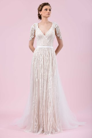 gemy-maalouf-2016-v-neck-wedding-dress-with-belt-and-lace-sleeves