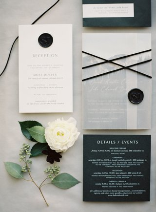 wedding-invitation-with-black-wax-seal-monogram-reception-card-and-detail-event-card-for-the-weekend