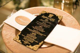 black-gold-reception-menu-charger-opulent-dinner-wedding-calligraphy-katrina-california-wedding