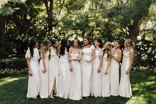 bridesmaids-in-mismatched-ivory-dresses-halter-spaghetti-strap-strapless-white-bridesmaid-dresses