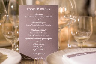reception-dinner-menu-subtle-purple-hues-colors-pink-calligraphy-new-york-city-jewish-wedding-food