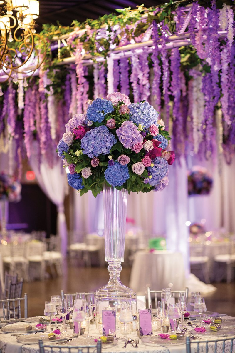 Tall Purple & Blue Centerpiece