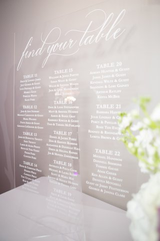 wedding reception seating chart white table numbers and names calligraphy find your table