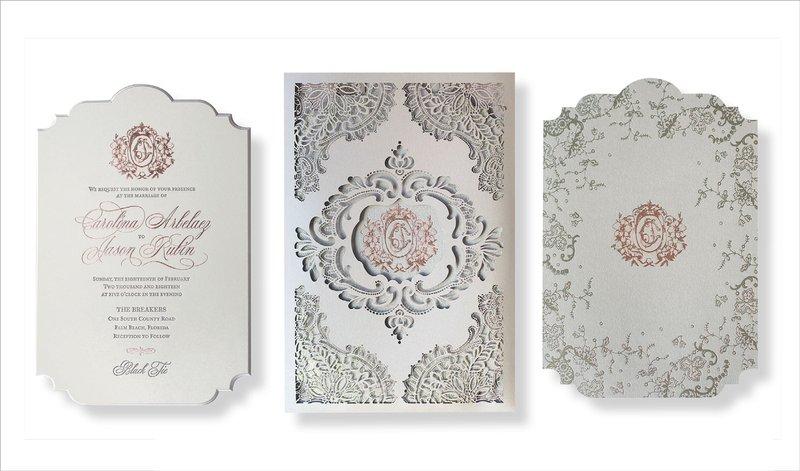 Silver & Rose Gold Monogram Invitation