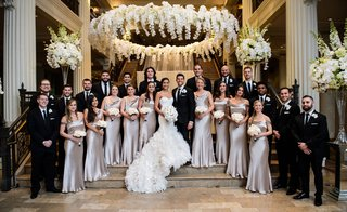 wedding-party-bridesmaids-in-cowl-neck-bridesmaid-dress
