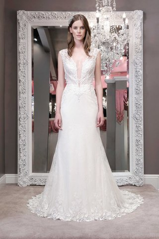 winnie-chlomin-2016-fit-and-flare-wedding-dress-with-plunging-neckline-and-embroidered-bodice-and-he