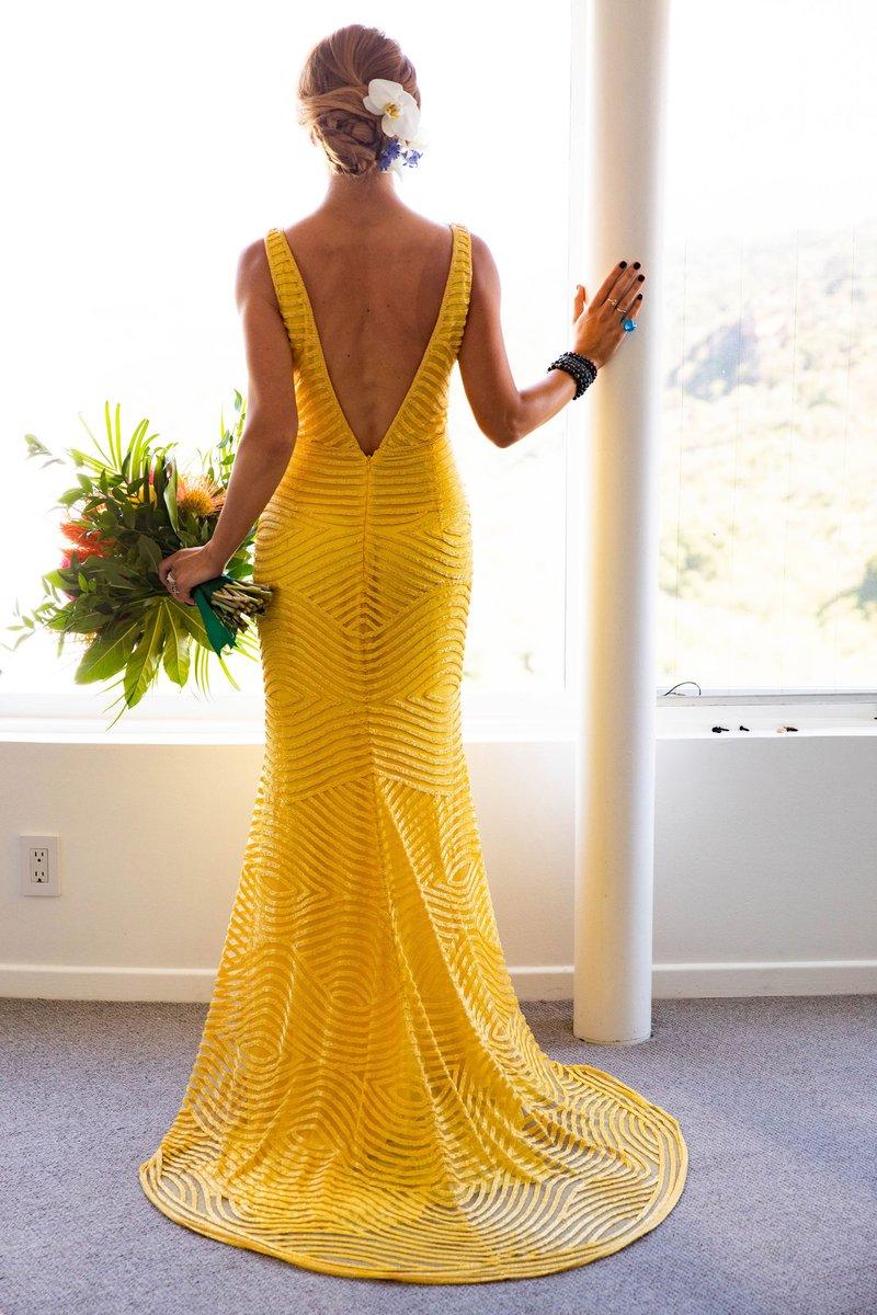 Bride's Yellow Wedding Dress