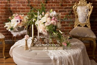 flower-arrangement-with-lilies-roses-alstroemeria-tapered-candles-silver-tray