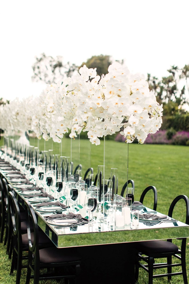 Mirror Wedding Reception Table with Orchids