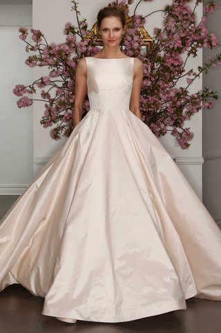 legends-by-romona-keveza-spring-2017-blush-silk-wedding-dress-ball-gown-with-boat-neck-lace-applique