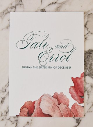 wedding program green script and coral watercolor peony design by ceci new york