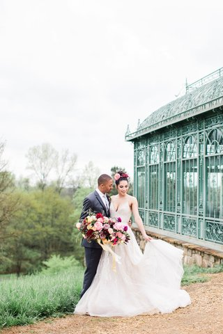 2400-on-the-river-wedding-inspiration-enclosed-mint-green-gazebo-bride-and-groom-with-full-bouquet