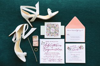 colorful-invitation-suite-with-rings-in-blush-mrs-box-and-white-bridal-shoes