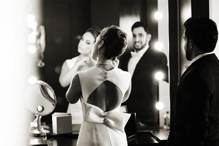 black-and-white-photo-of-elegant-keyhole-back-wedding-dress