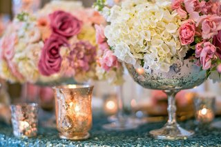 silver-mercury-glass-vessel-with-white-and-pink-flowers
