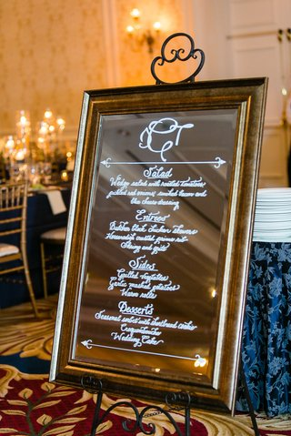 wedding-reception-menu-in-calligraphy-on-mirror